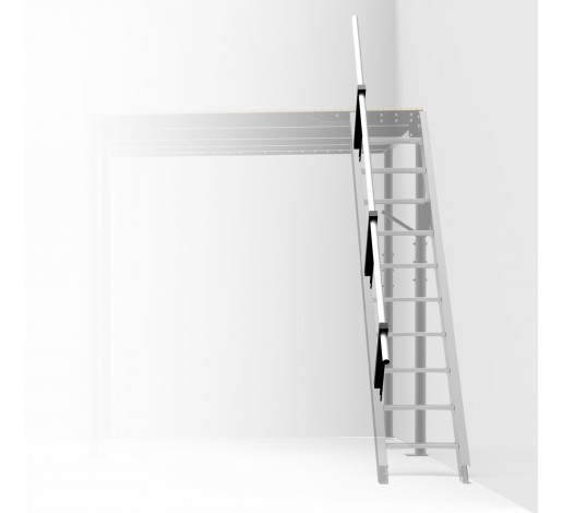 Railing for folding stairs to wall