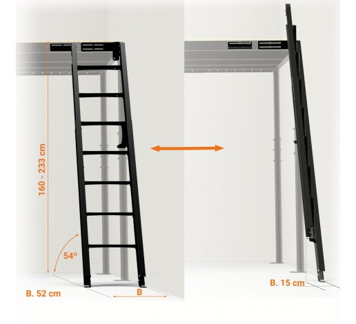 Folding Stairs to wall 54º S